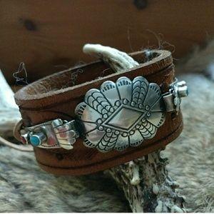 Sterling turquoise, coral  vintage bracelet